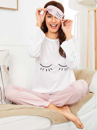 e9c45f4d8e Eye Embroidered PJ Set With Eye Mask