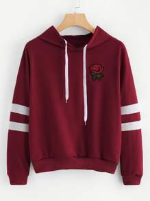 Varsity-Striped Rose Patch Hoodie