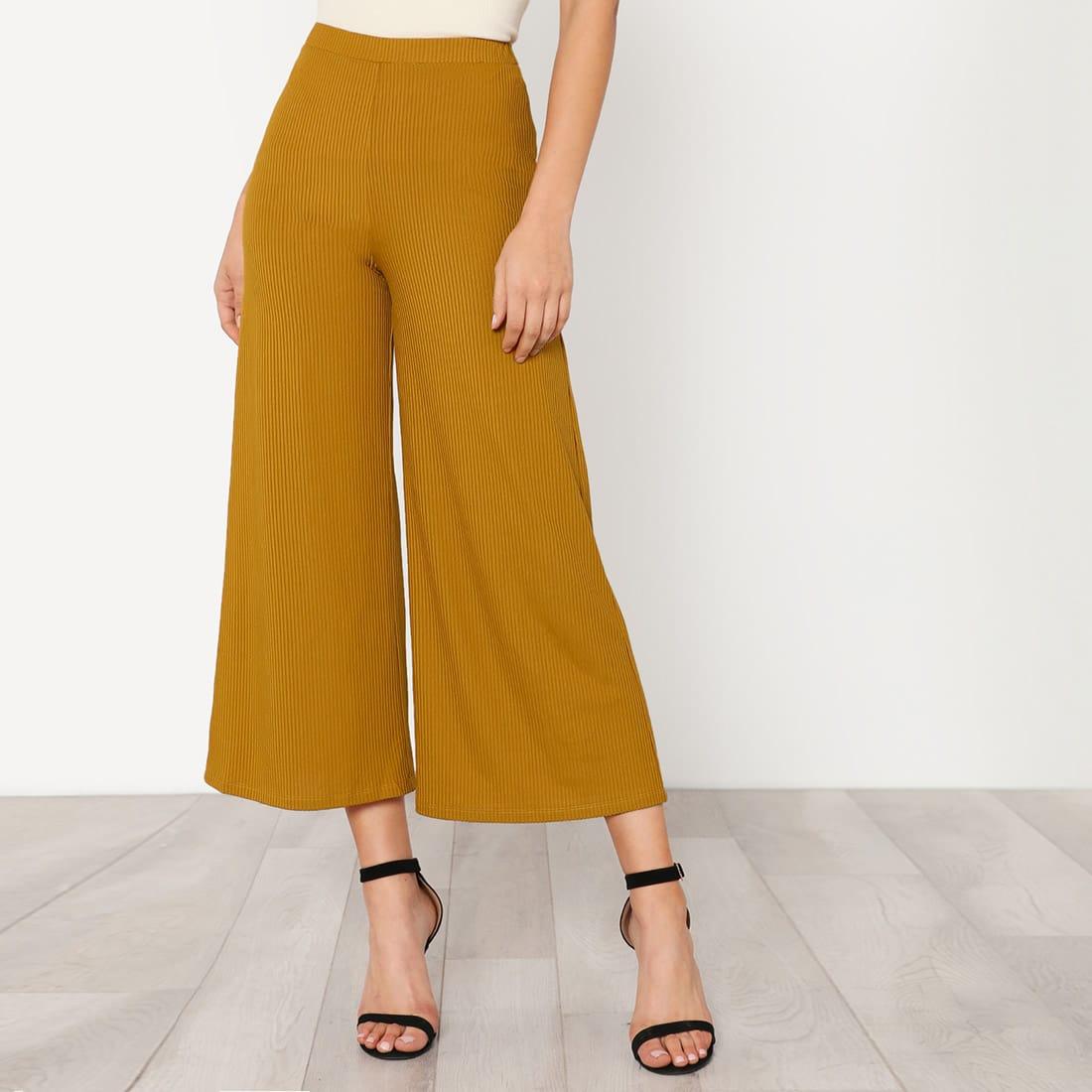 - Elastic Waist Solid Culotte Pants