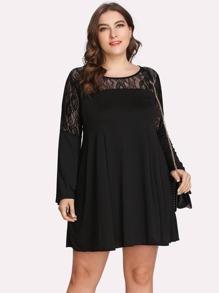 floral lace insert dress