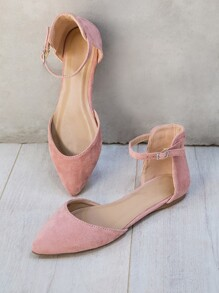 Faux Suede Pointed Toe Dorsay Flats