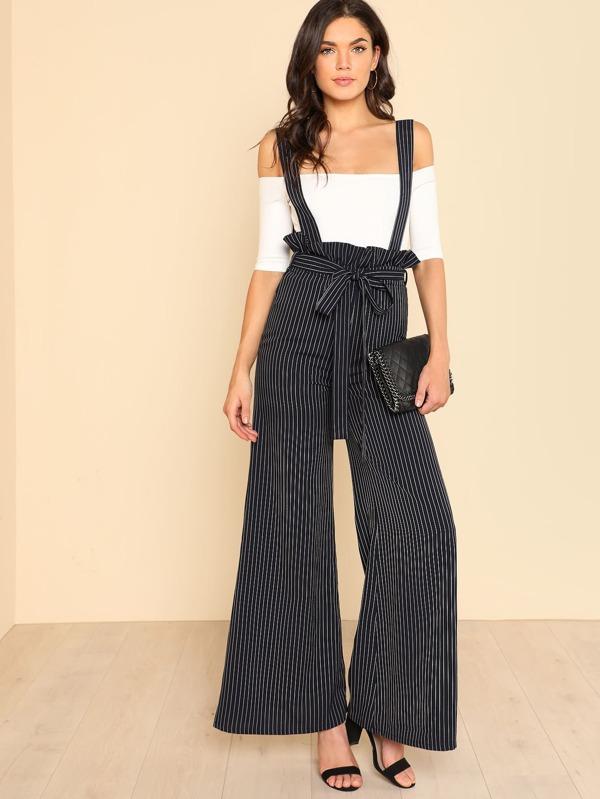 cbcbcf9270fe7 Pantalons ample à rayures avec ceinture et bretelle -French SheIn(Sheinside)