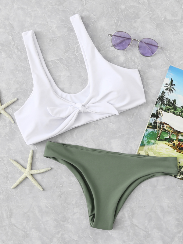 293f392cc32fb0 Bow Tie Scoop Neck Top With Hipster Bikini Set