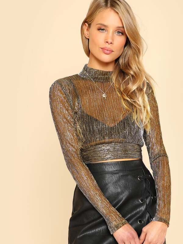 4be5d403d69d65 Cheap Mock Neck Metallic Mesh Top for sale Australia