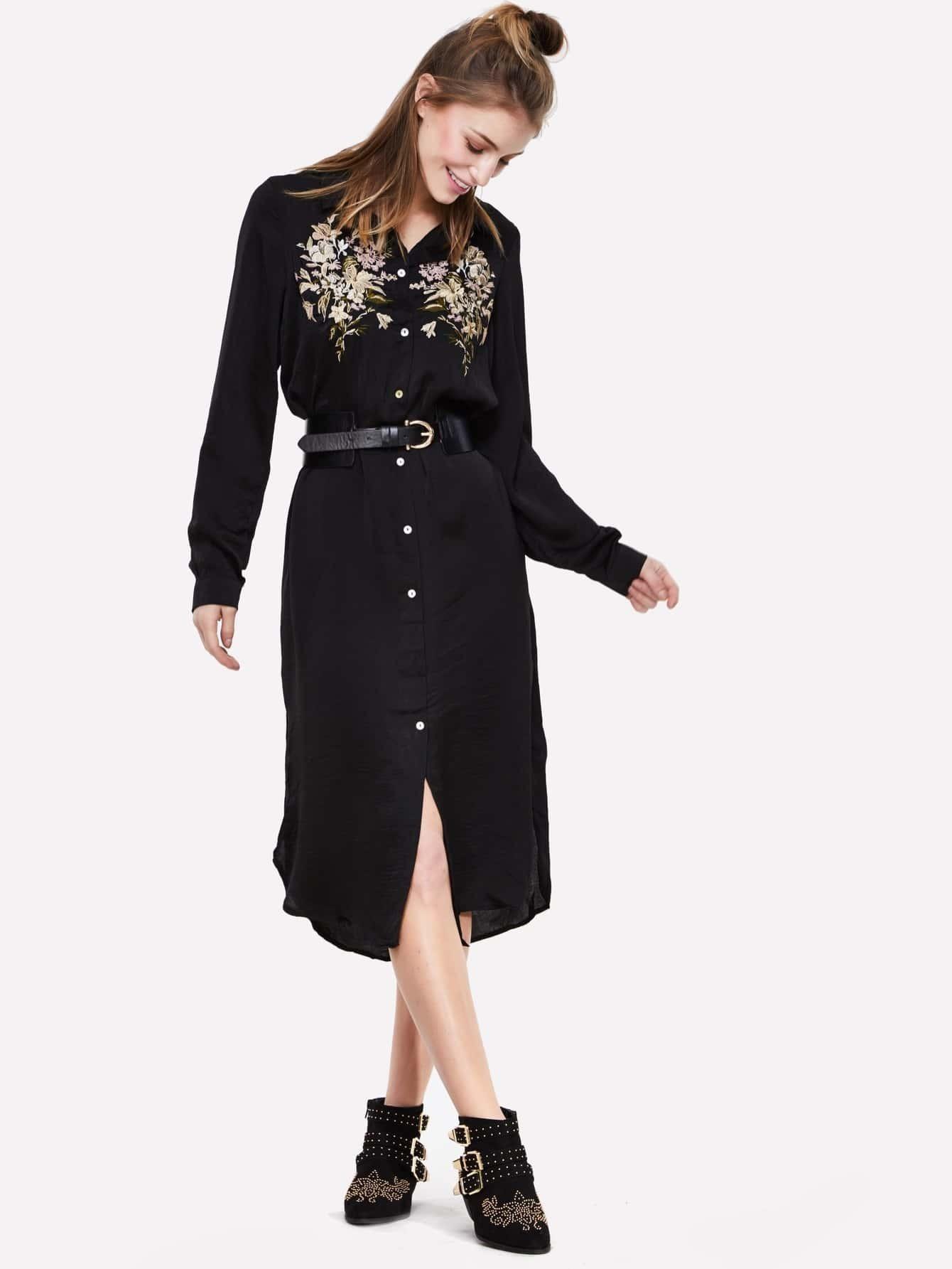 bluse kleid mit blumenmuster und kn pfen german shein sheinside. Black Bedroom Furniture Sets. Home Design Ideas