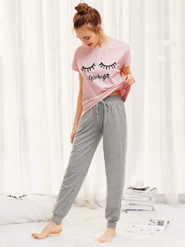 5b7afdc0fd Graphic Tee And Heathered Sweatpants PJ Set | SHEIN