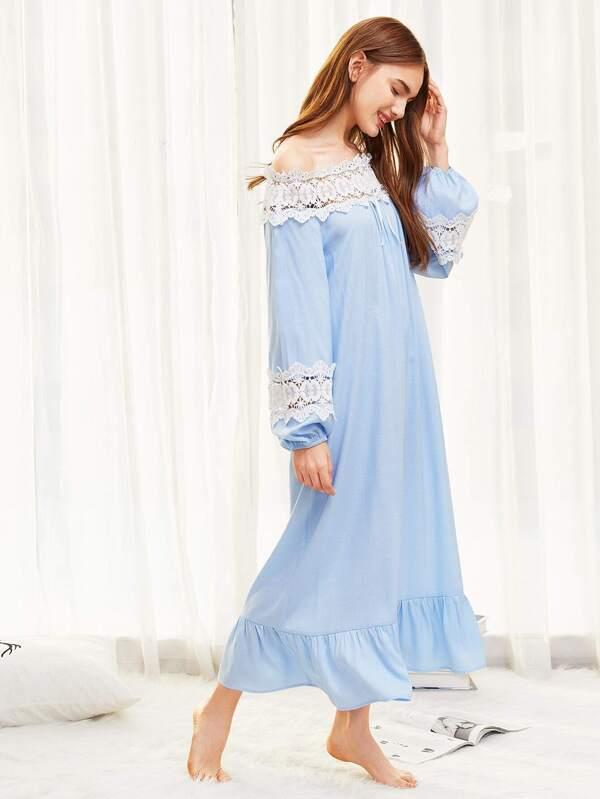 6f83936f31 Lace Insert Ruffle Hem Night Dress | SHEIN IN