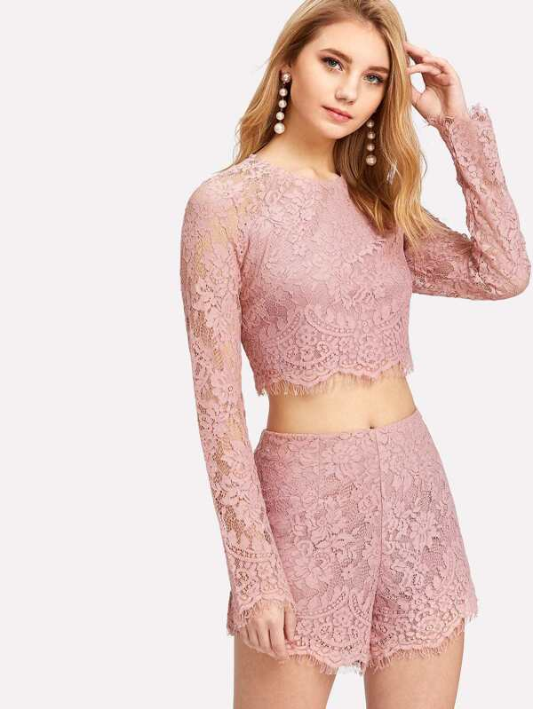 be0701d9ee Eyelash Lace Crop Top With Shorts | SHEIN UK