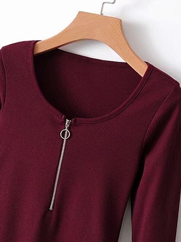 9d03b6e64b Zipper Up Slim Fit Bodysuit