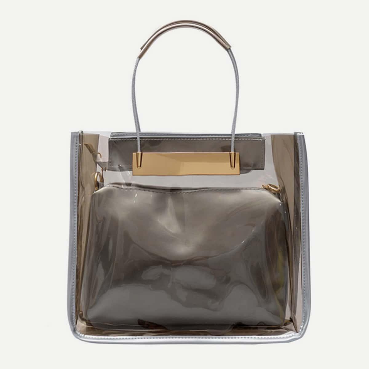 - Transparent Handbag With Clutch 2pcs