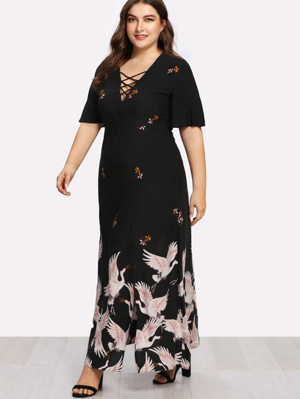 Plus Crisscross V Neck Crane Print Dress -SheIn(Sheinside) 1ca70badf
