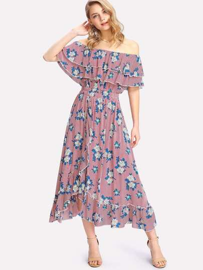 Mixed Print Tiered Ruffle Bardot Dress