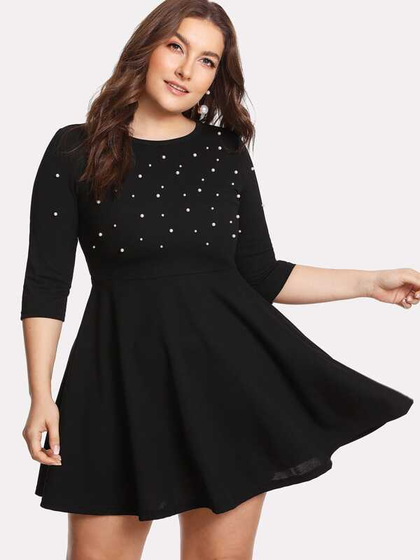 8ef2c3d611 Plus Pearl Beading Skater Dress | SHEIN UK