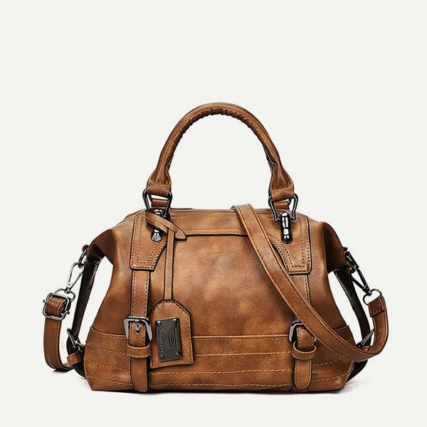 Double Buckle Satchel Bag, Brown