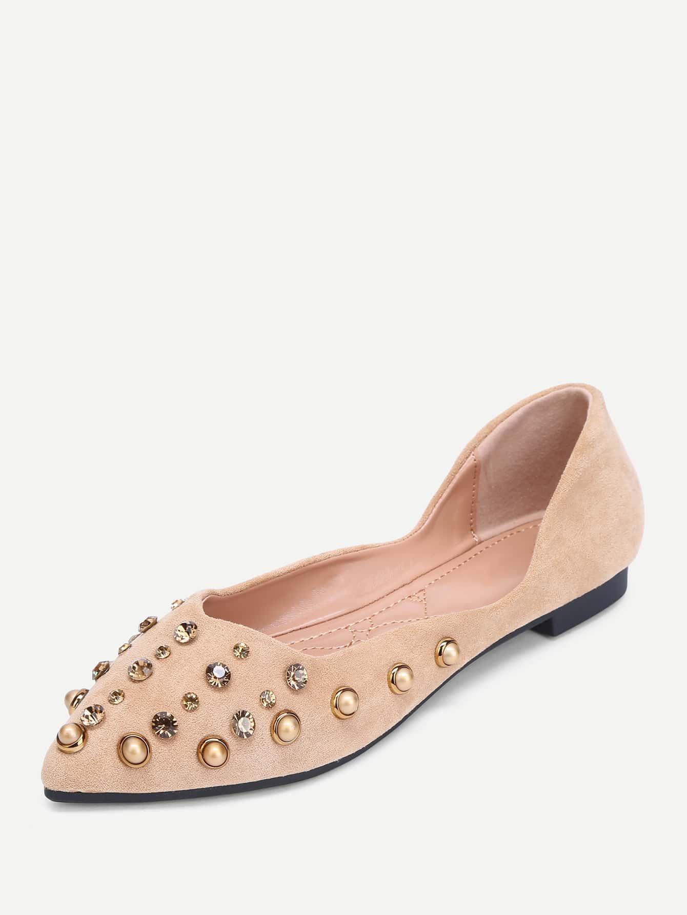 Wildleder flache Schuhe mit Strass und Nieten | SHEIN