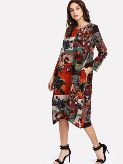 Graphic Print Hanky Hem Dress
