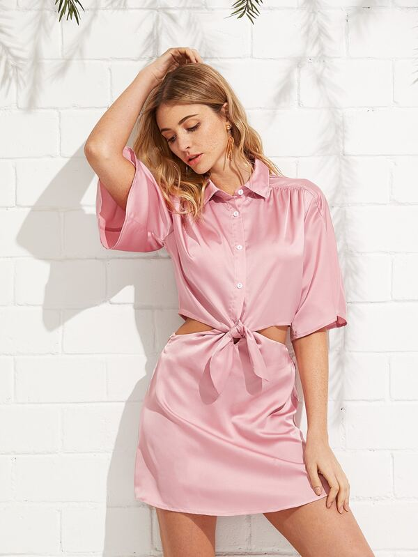 ac38fa0157 Front Knot Satin Shirt Dress | SHEIN