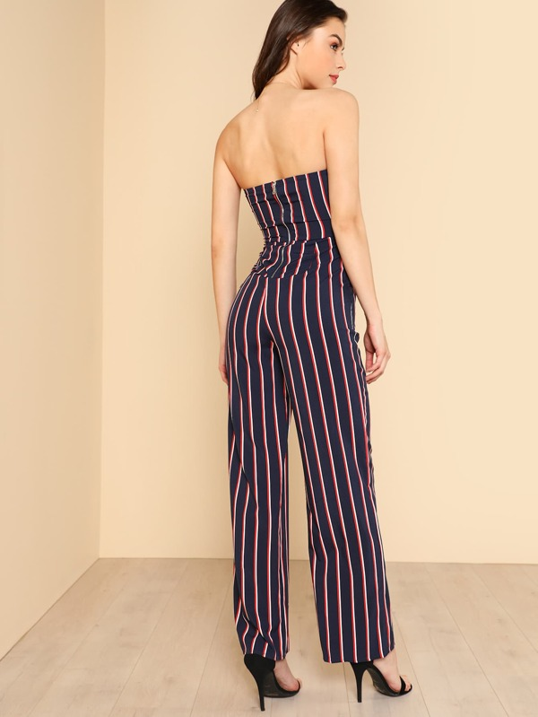 b4cb174bd4b Strapless Sweetheart Keyhold Striped Jumpsuit NAVY MULTI. AddThis Sharing  Buttons