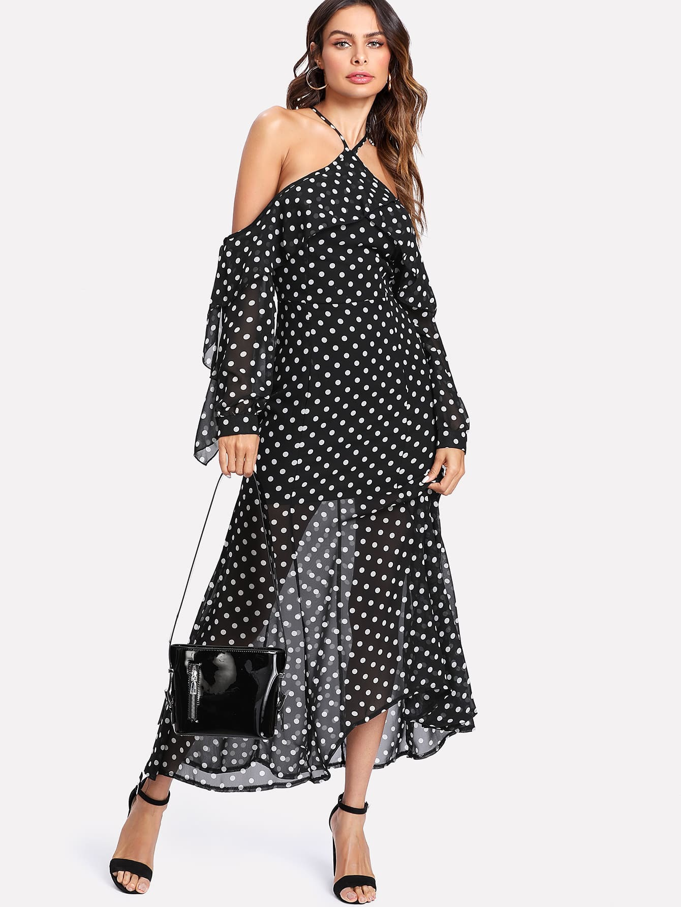 6ea0b3fb0db Halter Off Shoulder Semi Sheer Polka Dot Dress | SHEIN UK