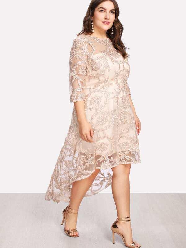 420c5066ef4 Plus Applique Mesh Overlay Dip Hem Dress