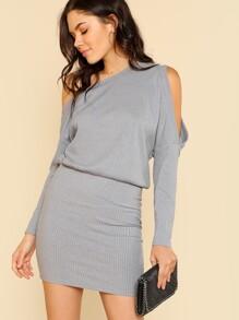 Asymmetric Cold Shoulder Rib Knit Blouson Dress dressmmc180103706
