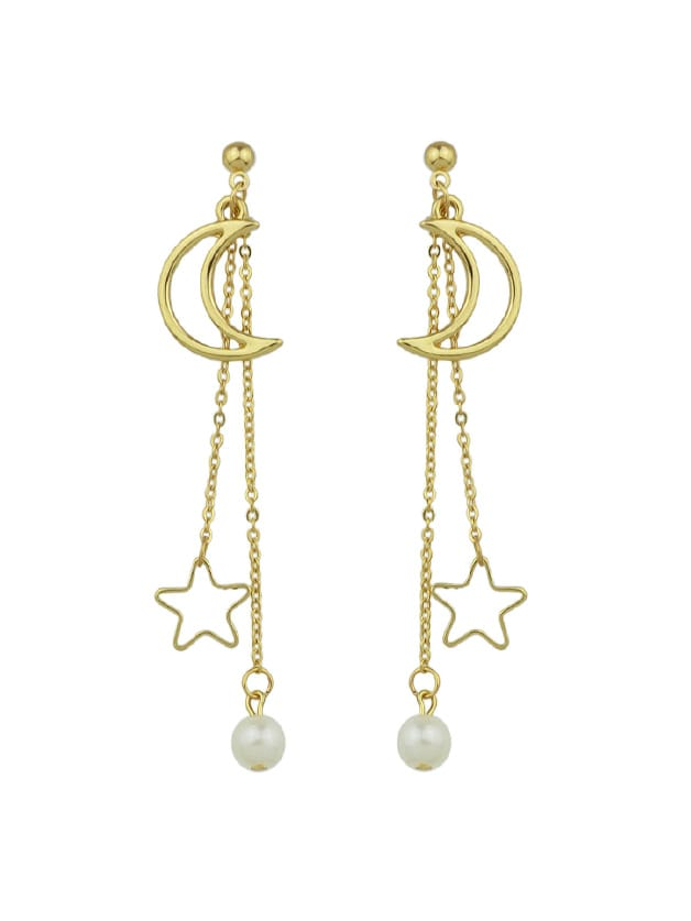 0be462e638548b Gold Long Chain Hanging Earrings Moon Star Shape   ROMWE
