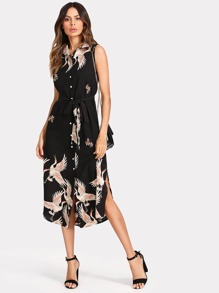 Crane Print Button Up Curved Hem Dress