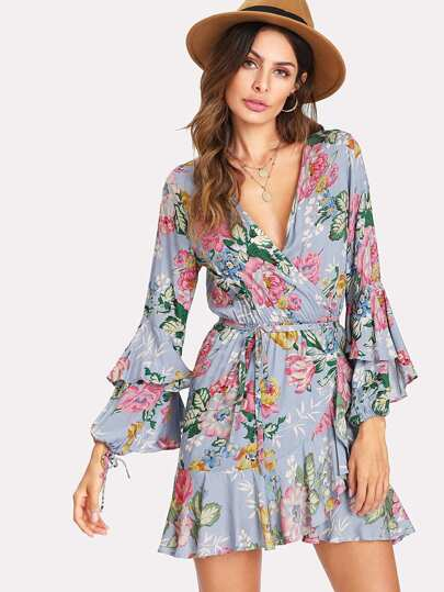 Flounce Sleeve Self Tie Floral Dress