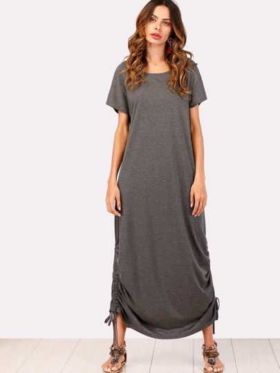 Drawstring Side Heathered Knit Dress