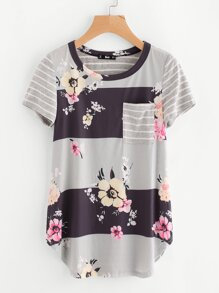 Floral & Striped Print Curve Hem Top