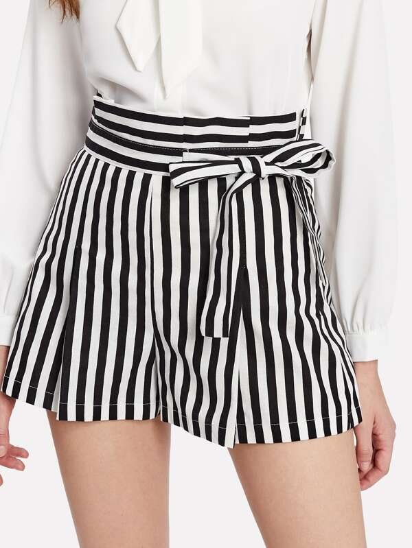 f503c48e2c150 High Waist Pinstripe Shorts | SHEIN UK