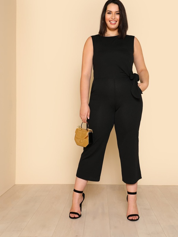 c4f1a3c17416 Plus Self Belted Sleeveless Culotte Jumpsuit
