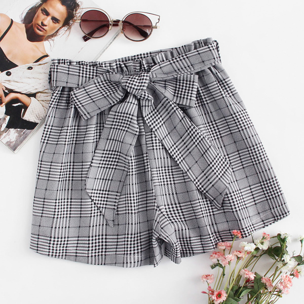 Self Tie Waist Plaid Shorts, Grey