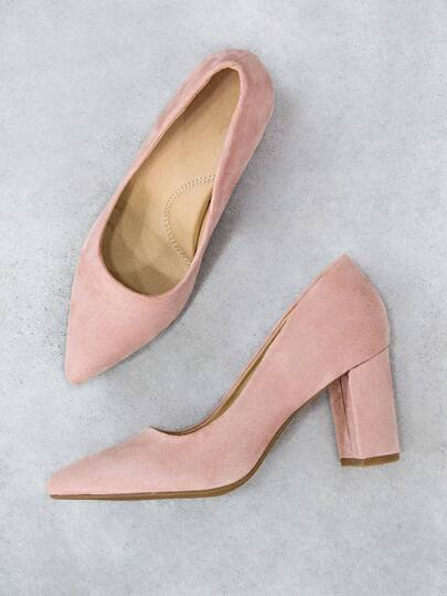 454d13508c3 Comfy Pointy Faux Suede Block Heel DUSTY ROSE -SheIn(Sheinside)