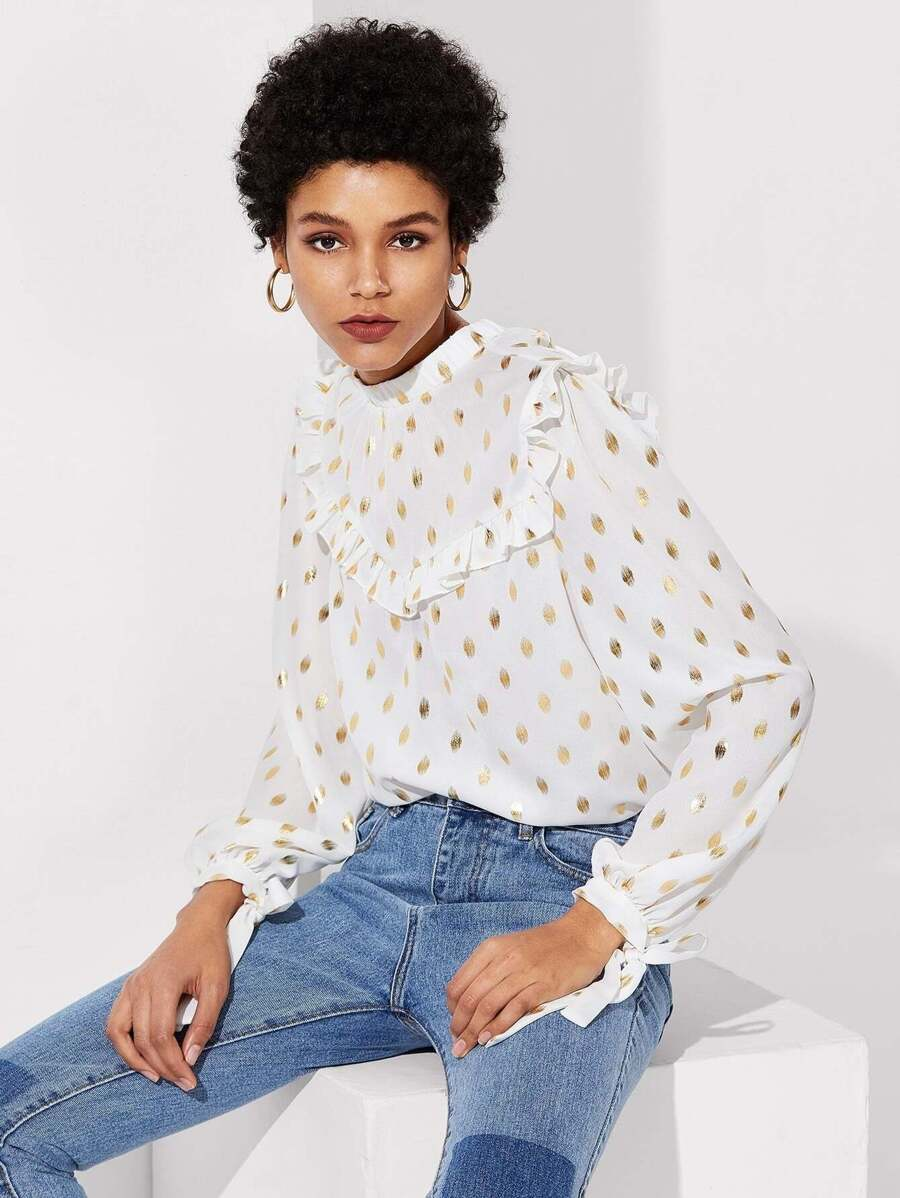 Shein Gold Dot top