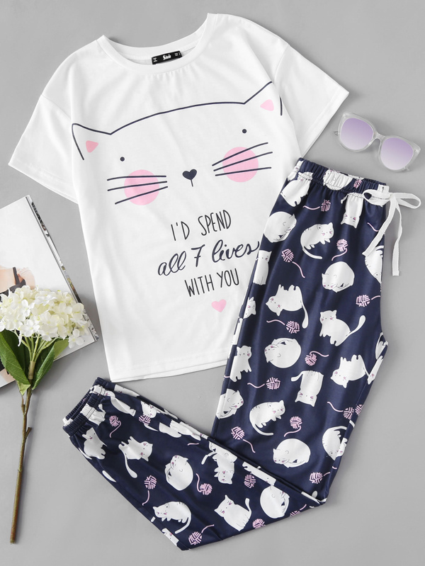5c22df9753 Conjunto de pijama con estampado de gato