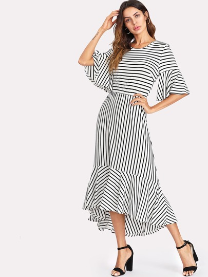 Flounce Sleeve Asymmetrical Ruffle Hem Striped Dress