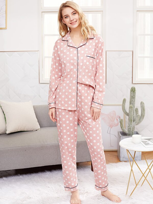 Contrast Piping Polka Dot Pyjama Set by Sheinside