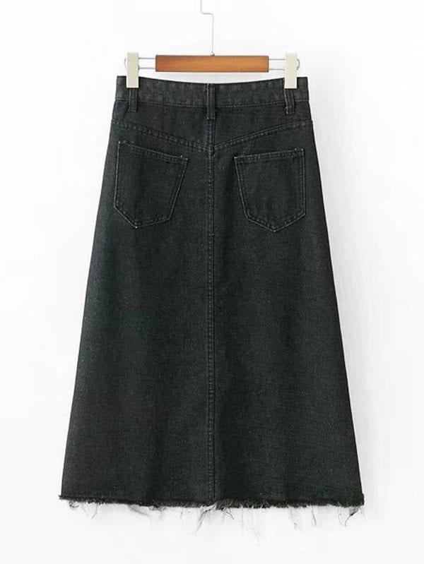 jupe en jeans avec pan d chir french romwe. Black Bedroom Furniture Sets. Home Design Ideas