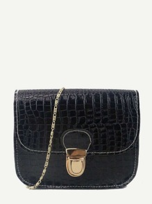 Crocodile Print PU Chain Bag