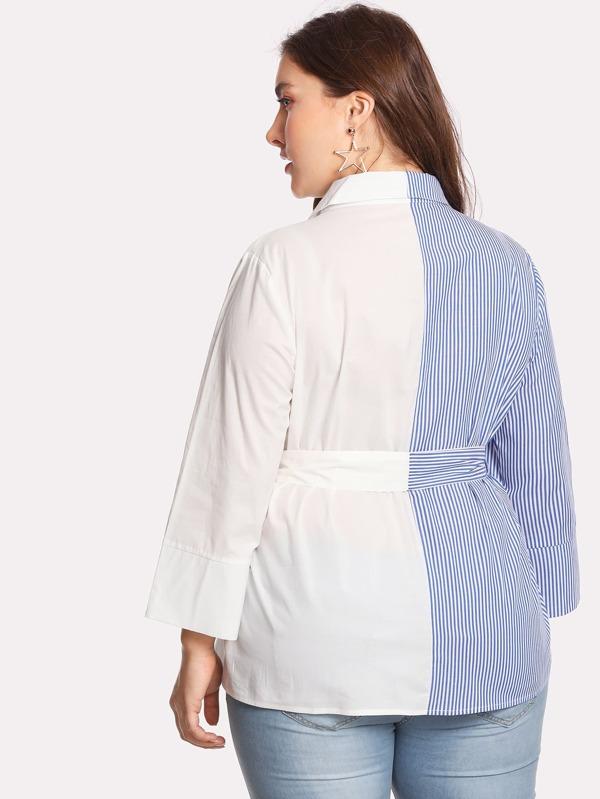 68de627b0f Plus Self Tie Cut And Sew Shirt | SHEIN