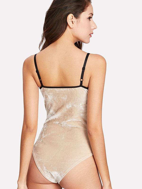 e08c5f1fd4 Lace Up Velvet Teddy Bodysuit