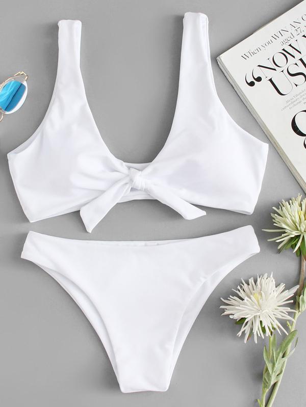 73ebe907f5 Knot Front Top With High Leg Bikini Set | SHEIN