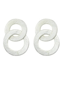 Silver Double Round Circle Shape Drop Earrings