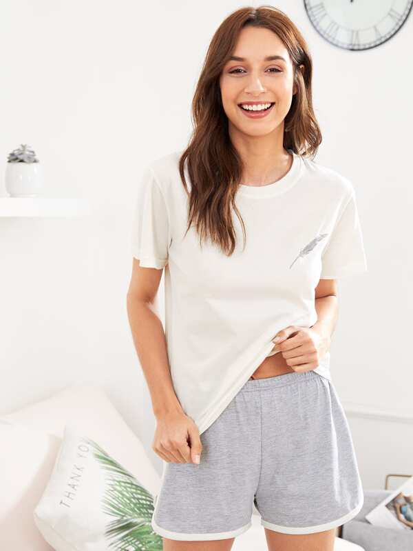 b773bf438 Feather Embroidered Tee   Shorts PJ Set