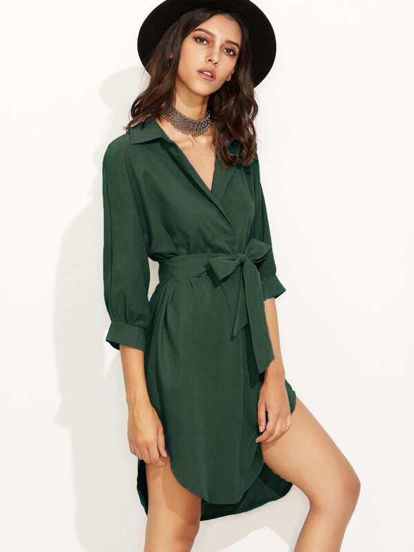 0480e9194 Vestido camisero asimétrico con lazo en la cintura - verde