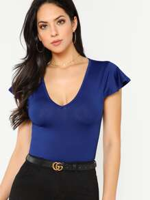 Cap Sleeve Deep V Neck Fitted Tee