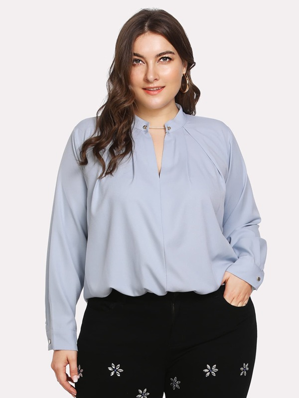 plus-metal-embellished-blouse by sheinside