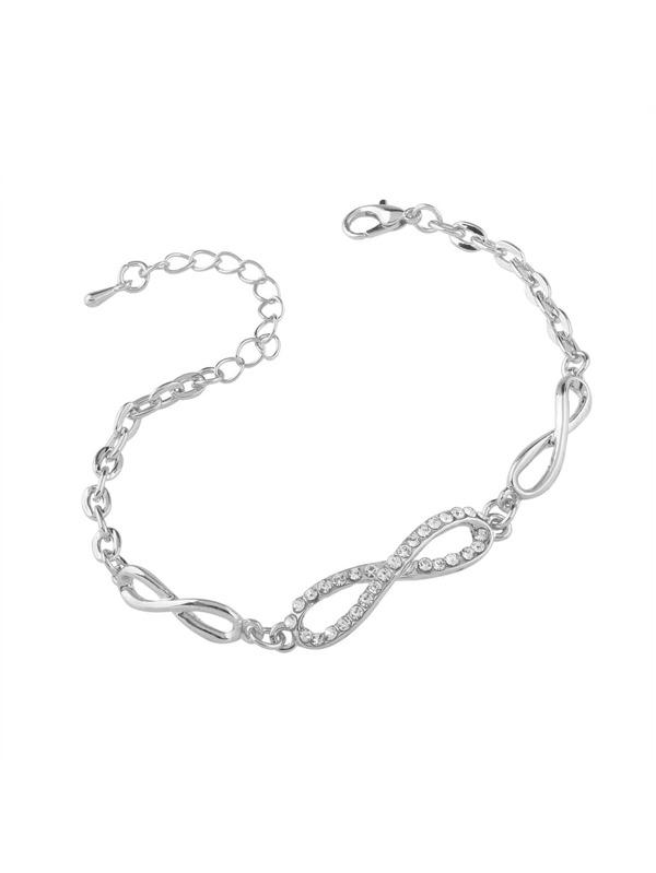 3681e6ea6e6a Rhinestone Detail Number Eight Design Chain Bracelet -SheIn(Sheinside)