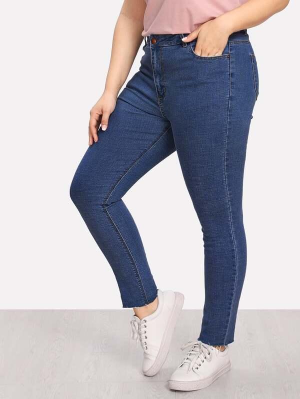 Plus Frayed Hem Skinny Jeans by Sheinside
